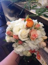 Wedding bouquet handheld wedding bouquet -perfect in corals and whites