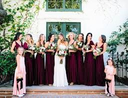 wedding bouquets burgundy and blush tones