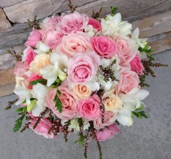 Wedding Bouquet Pretty in Pink Pink Roses, white Freesia and Heather