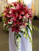 stargazers and dendrobium orchids Bridal bouquet