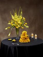 WEDDING CAKE TABLE  Reception Arrangement- Cake, candles, flower saucers, knife set  not include