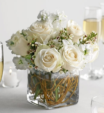 Wedding centerpiece in glass cube