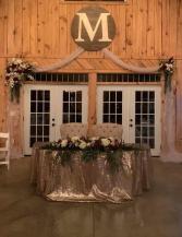 Wedding Reception flowers Sweethearts table