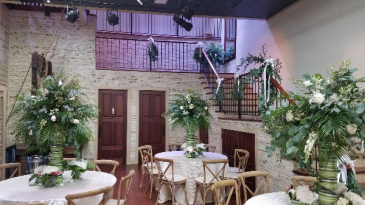 Wedding reception  Tables and stairs