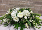 Wedding Wishes All white arrangement Bride and Groom Table