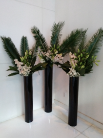 Building lobby arrangements Weekly flower service