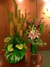 Reception area displays Weekly flower service