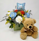 Welcome Baby Boy  Flowers and a Bear
