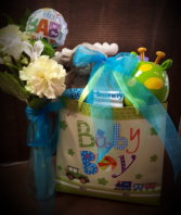 Welcome Baby gift basket and flowers