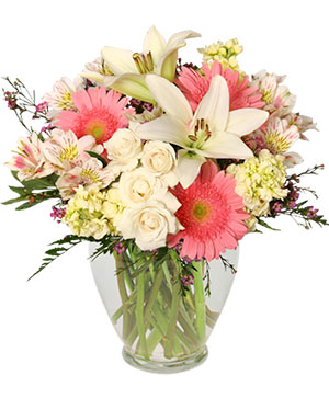 Welcome Baby Girl Flower Arrangement in East Islip, NY | COUNTRY VILLAGE FLORIST AND GIFTS INC.