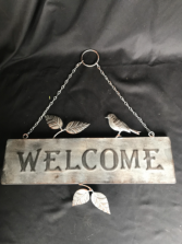 Welcome Birdie  Metal sign