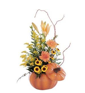 Welcome Friends Pumpkin Arrangement