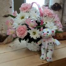 Pretty Pink Miss Basket Arrangement
