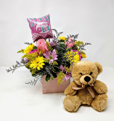 Welcome Little Girl! Flowers and a Bear