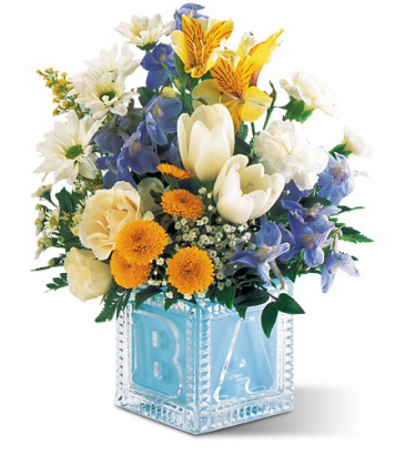 Welcome Little One Bouquet (Baby Blue) All-around floral arrangement
