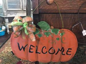 Welcome Pumpkin Doorhanger  in Albany, GA | WAY'S HOUSE OF FLOWERS