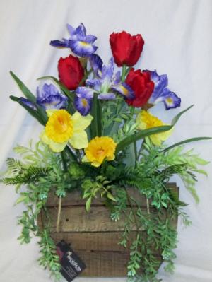 Welcome Spring Door Basket Permanent Arrangement by Inspirations Floral Studio in Lock Haven, PA | INSPIRATIONS FLORAL STUDIO