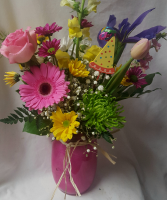 Colored Mason Jar with bright seasonal flowers and birthday pic!!