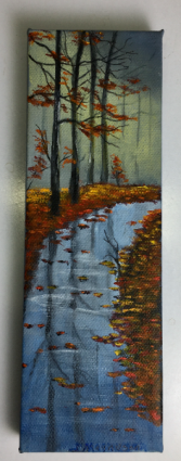Wet Sidewalk in Fall  Acrylic Painting on Canvas