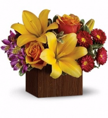 WF 404 Fall in Style  Yellow Lily and Orange Roses in Wooden Box