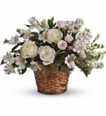 WF131 White Roses & Alstroemerias Basket