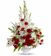 WF134 Graceful White & Red Tribute