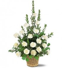WF151 White Carnation Basket