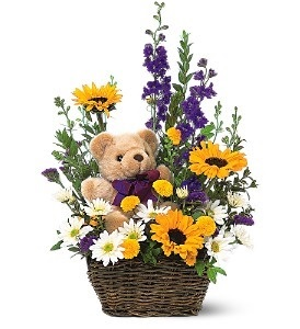 WF343 Teddy Bear in Flower Basket in Westford, MA | WESTFORD FLORIST