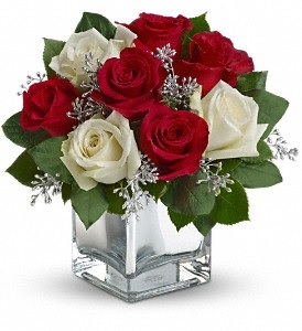 WF195 Red & White Roses in Silver Cube Vase