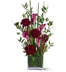 WF217 Pink Calla Lilies & Burgundy Carnations