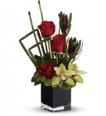 WF219 Symbidium & Red Roses