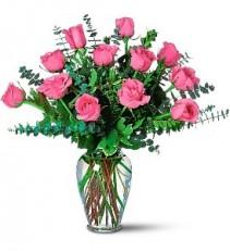 WF241 12 Hot Pink Roses