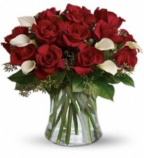 WF255 Red Roses & White Calla Lilies