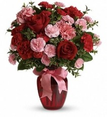 WF262 Pink & Red Mini Carnations with Red Roses