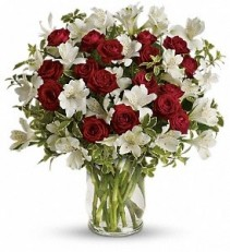 WF276 Red Spray Roses or Tulips & White Alstroemerias