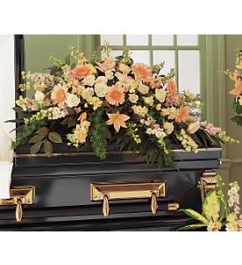 WFC119 Casket Spray - Peach Memories in Westford, MA | WESTFORD FLORIST
