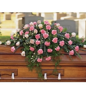 WFC120 Casket Spray - Pink Carnations  in Westford, MA | WESTFORD FLORIST