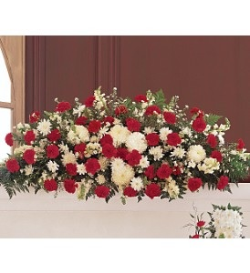 WFC121 Casket Spray - Marvelous Red & White in Westford, MA | WESTFORD FLORIST