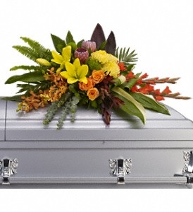 WFC122 Casket Spray - Tropical Island Memories  in Westford, MA | WESTFORD FLORIST