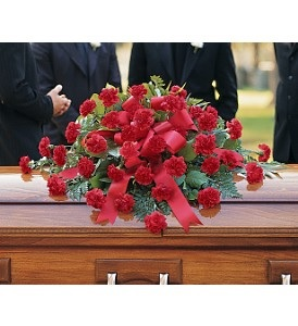 WFC124 Casket Spray - Red Carnations in Westford, MA | WESTFORD FLORIST
