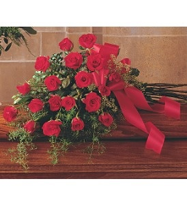 WFC126 Casket Spray - Red Roses Hand Tied in Westford, MA | WESTFORD FLORIST
