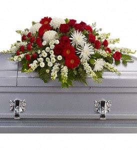 WFC128 Casket Spray - Majestic Red & White in Westford, MA | WESTFORD FLORIST