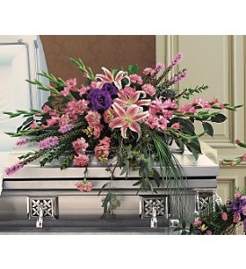 WFC130 Casket Spray - Graceful Star Gazer  in Westford, MA | WESTFORD FLORIST