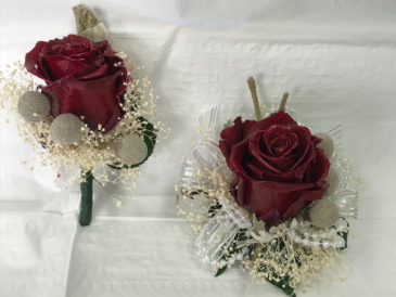 WFP 405  Preserved Red Roses Boutonniere & Corsage
