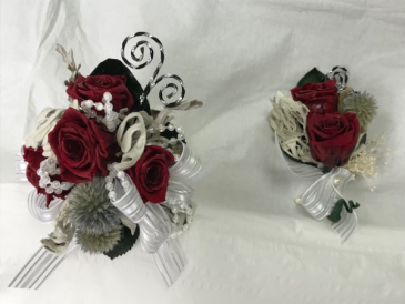 WFP 406  Preserved Red Tea Roses Corsage & Boutonniere