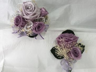 WFP 407  Preserved Tea Roses Corsage & Boutonniere
