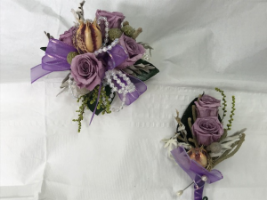 WFP 408  Preserved Purple Tea Roses Corsage & Boutonniere in Westford, MA | WESTFORD FLORIST
