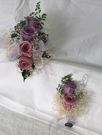 WFP 409  Preserved Tea Roses Corsage & Boutonniere