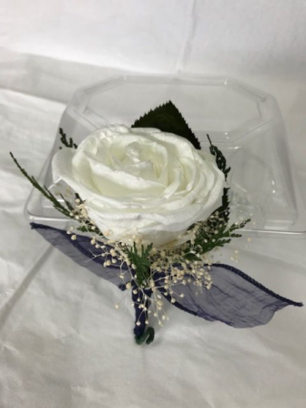 WFP 412  Preserved White Rose Boutonniere