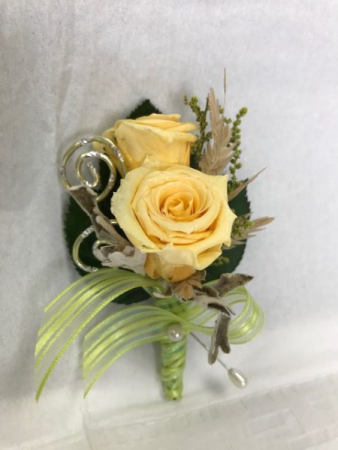 WFP 417 Preserved Yellow Tea Rose Boutonniere